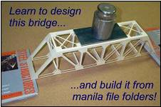 Manila file folders provide an excellent building material for model bridges. They are inexpensive and easy to work with. More importantly, the structural behavior of bridges made of file-folder cardboard is surprisingly realistic.